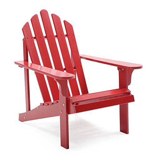 Comfort Back Design Pleasant Bay Painted Acacia Wood Outdoor Adirondack Patio Chair – Red
