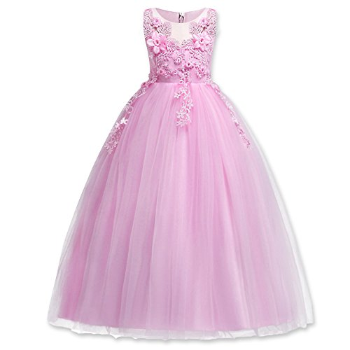 HUANQIUE Girl Embroidery Pageant Party Dress Kids Prom Ball Gown Pink 4-5 T]()