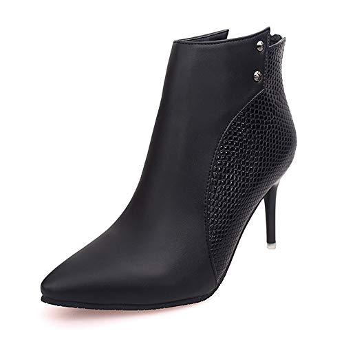 Black US6.5-7   EU37   UK4.5-5   CN37 Black US6.5-7   EU37   UK4.5-5   CN37 Women's Bootie PU Fall Boots Stiletto Heel Pointed Toe Black Red