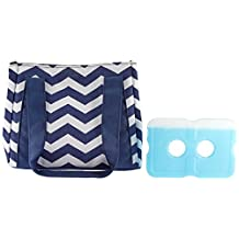 Fit & Fresh Fit and Fresh Women's Venice Insulated Lunch Bag with Ice Pack, Stylish Adult Lunch Bag for Work or School, Navy and White Chevron