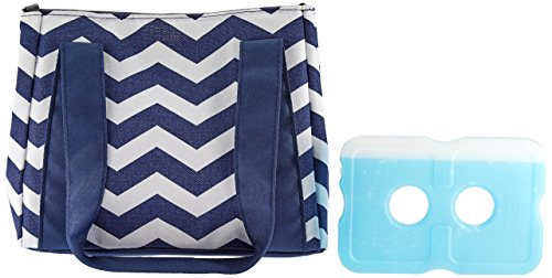 Fit & Fresh Womens Venice Insulated Lunch Bag, Stylish Adult Lunch Bag, Navy White Chevron