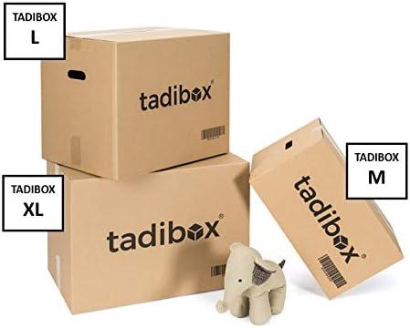 TADIBOX L - 7 Cajas de Cartón para Mudanza Y Almacenaje con Asas - Fabricadas en España - 47x35x39cm - Resistente con Canal Doble - ECO Box: Amazon.es: Oficina y papelería