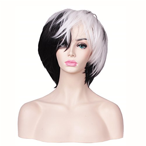 ColorGround Black and White Short Halloween Cosplay Wig for Women -