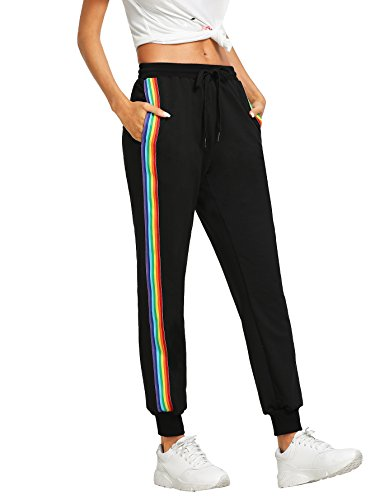 - SweatyRocks Women's Drawstring Waist Striped Side Jogger Sweatpants with Pockets,Black,X-Large