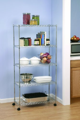 Seville Classics 5-Tier Steel Wire Shelving /w Wheels, 14