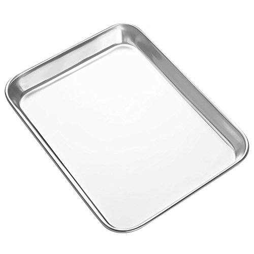 HEAHYSI Mini Stainless Steel Baking Sheets,Small Cookie Sheets, Toaster Oven Tray Pan Rectangle Size 9.4Lx7Wx1H inch By, Non Toxic & Healthy,Superior Mirror Finish & Easy Clean, Dishwasher Safe ()