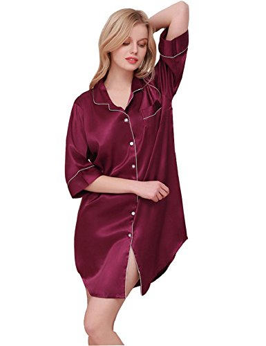 SexyTown Womens Long Sleeve Sleepshirt Button-Front Nightshirts Pajama Top (Large, Style2-Fuchsia) ()