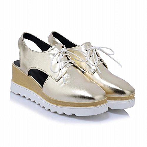 Carolbar Womens Lace-Up Slingback Square Toe Wedges Oxfords Sandals Gold BVWMS4jS