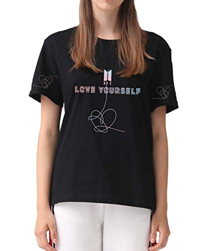 DealRight BTS Shirt Love Yourself World Tour Speak Yourself Tee Girls' Women's Boys' Short Sleeve Round Neck Kpop T-Shirts (Black 2, Small)