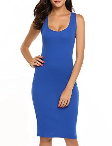 Tunic Cotton Sleeveless Blue Criss Tank Back Stretchy Bodycon Women Dress Royal Hotouch Cross Dress U4zYqzB