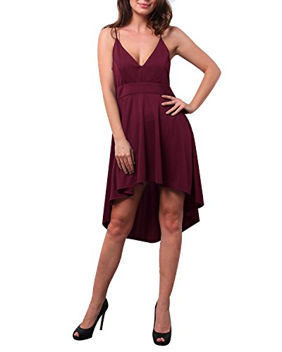 StyleDome Womens Sleeveless Dresses V Neck Lace Back Spaghetti Strap Summer High Low Casual Dresses Wine Small - Lace Spaghetti Strap