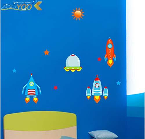hfwh Pegatinas de Pared, DIY Spaceship Sun Stars For Kids Room Boys Baby Nursery Cartoon Wall Calcomanias Home Decor Art Poster Wallpaper 90x30cm