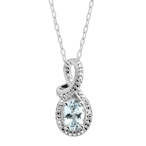 7/8 ct Natural Aquamarine Pendant Necklace with Diamond in Sterling Silver
