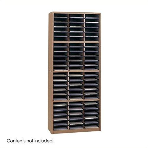 Safco Products Value Sorter Literature Organizer, 72 Compartment 7131MO,Medium Oak, Commercial-grade Steel Shell, Fiberboard Shelves, Value-priced