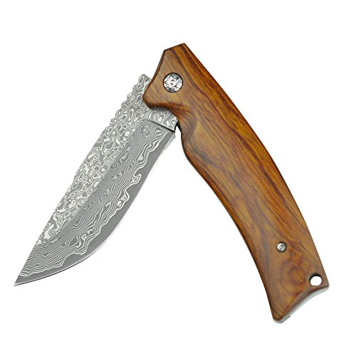 KUBEY DM134 Gentlemans Pocket Knife Folding Hunting Knives with Damascus Steel Blade Wood Handle Bearing Flipper Outdoor Camping Tactical EDC Tool Knives by KUBEY (Image #2)