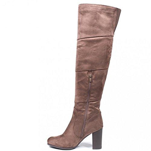 Ideal Shoes - Cuissardes effet daim avec bande élastique à l'arrière Velleda Taupe 37