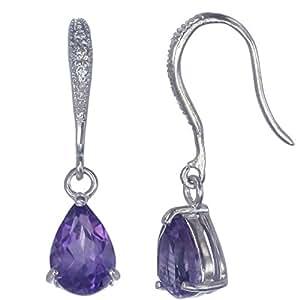 Vir Jewels, Pendientes De Mujer 925 Plata Con Púrpura Amatista 1.65 CT