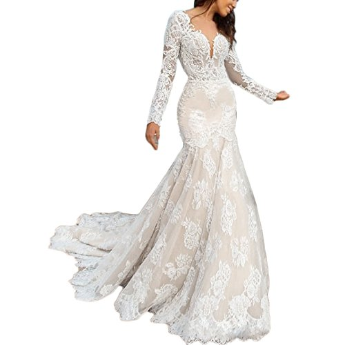 Liliesdresses Women's Low Cut Lace Wedding Gown with Sleeves Train Mermaid Evening Gown Backless Long Bridal Gown White 2