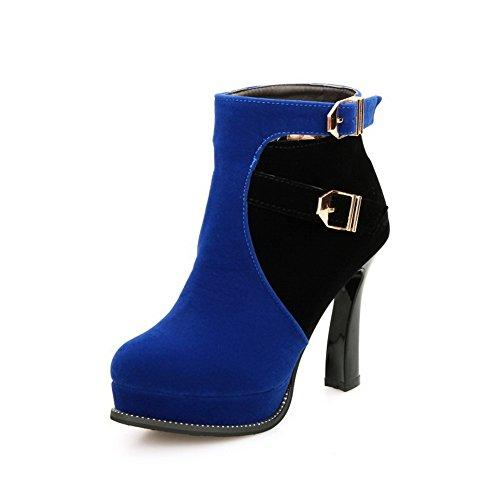 VogueZone009 Femme à Talon Haut De Cheville Couleurs Mélangées Zip Bottes Bleu