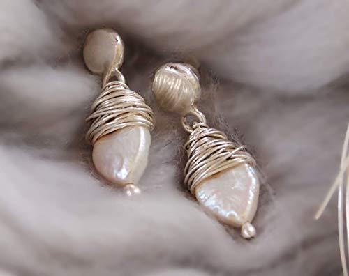 Pearl Silver Stud Earrings, Wedding Bridal