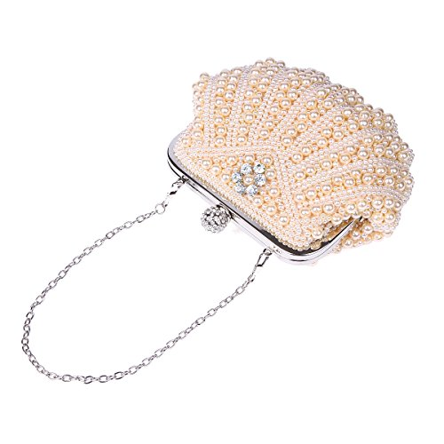 Champagne Bag Evening Clutch Damara Shell Quilted Womens Pearl Shaped TSwgWx1Cq