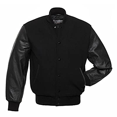 C112 Black Wool Black Leather Letterman Jacket Varsity Jacket