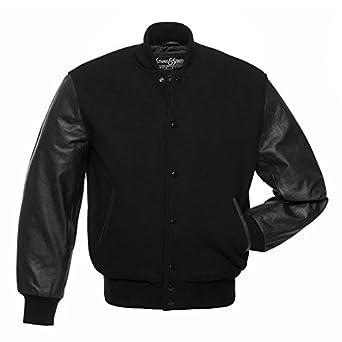 C112 Black Wool Black Leather Letterman Jacket Varsity Jacket at ...