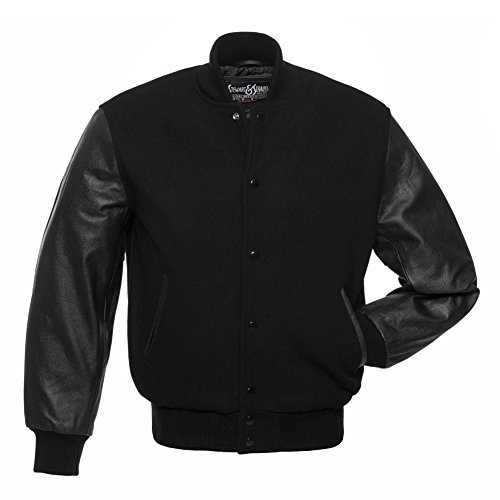 - Varsity Letterman Jacket - Black Wool & Black Leather - Small