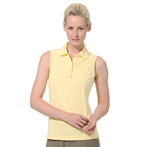 Monterey Club Ladies Dry Swing Solid Lightweight Pique Sleeveless Polo #2064 (Butter, Large)