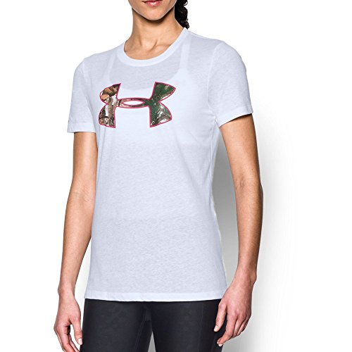 - Under Armour Women's Charged Cotton Camo Logo T-Shirt, White (100)/Realtree Ap-Xtra, Large