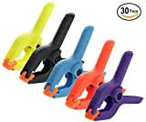 Ram-Pro 30 Piece Spring Clamps Set - Colored Plastic, 2 in Heavy-duty Support Spring Clip adjustable grip with jaw opening assorted colors Clamps for Photo Studio Backdrops Woodworking