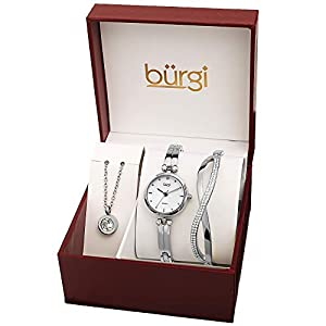 Burgi Women's Jewelry Gift Set – Half Bangle Diamond Watch, Circle Pendant Necklace and Open Bangle Bracelet – Flash Plated Gold – BUR208