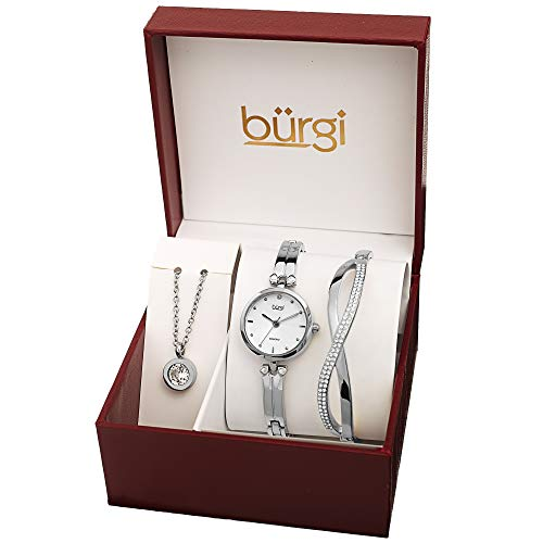 Burgi Women's Jewelry Gift Set - Half Bangle Diamond Watch, Swarovski Crystal Pendant Necklace and Bracelet - Flash Plated Silver - BUR212SS-S ()