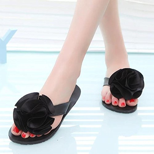 Outdoor TM Leisure Shoes Flat Shoes Lady Sandals Flower Women Slipper Black DEESEE OpTWzcqT