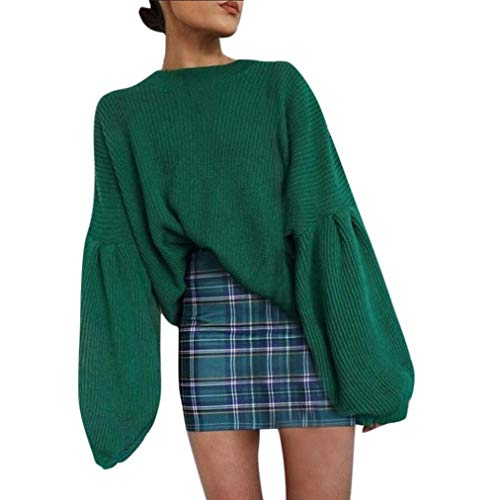 Women Oversized Sweater Solid Long Lantern Sleeve Knit O-Neck Top Loose Shirt(Green,Small)