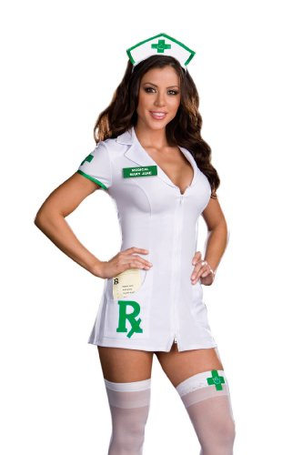 Dreamgirl Medical Mary Jane Dress, White, Large