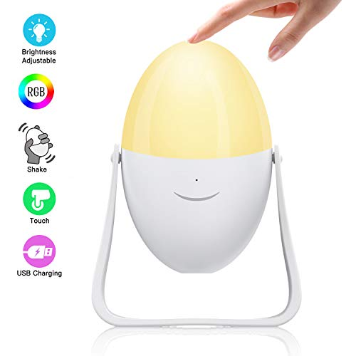 Night Light for Kids with USB Rechargeable, Warm White & Smart Dimmable RGB 7 Color Changing Modes, Rotate 360, Touch Control Table Lamp for Baby Room, Bedroom, Indoor and Outdoor - Tikitaka