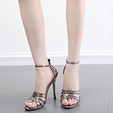 ab82489d9a4 ... LvYuan Mujer Sandalias Cuero Patentado Verano Hebilla Tacón Stiletto  Negro Gris oscuro 10 - 12 cms