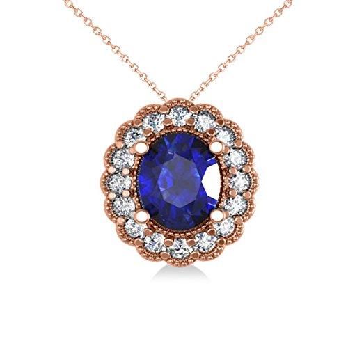Allurez Blue Sapphire and Diamond Floral Oval Pendant Necklace 14k Rose Gold (2.98ct)