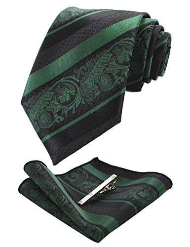 (JEMYGINS Dark Green Floral Tie, Silk Necktie and Pocket Square Hankerchef Tie Clip Sets for Men(3))