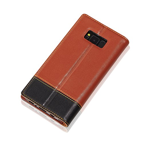 Samsung Galaxy S8 Plus Wallet Case, Purfit Handmade Geniune Leather Vintage Look Flip Wallet Case Cover (ID card slots) (Build in Stand) (Luxury Desig…