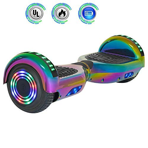NHT 6.5' inch Aurora Hoverboard Self Balancing Scooter with Built-in Bluetooth Speaker Colorful LED Wheels and Lights- UL2272 Certified Carbon Fiber Style Available (Rainbow-5)