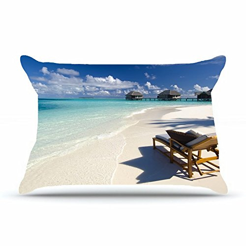 Khshhd Queen Pillowcase Size 20x30 Inches Cotton Pillowcases Decorative Pillow Cover Case with Hidden Zipper Decor Cushion Covers - Nature beach seas tropics images chair pillows bungalow For Bedding