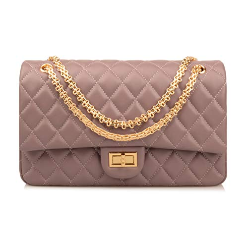Ainifeel Women's Genuine Leather Quilted Chain Bag Hobo Bag On (Medium, Lavender A) ()