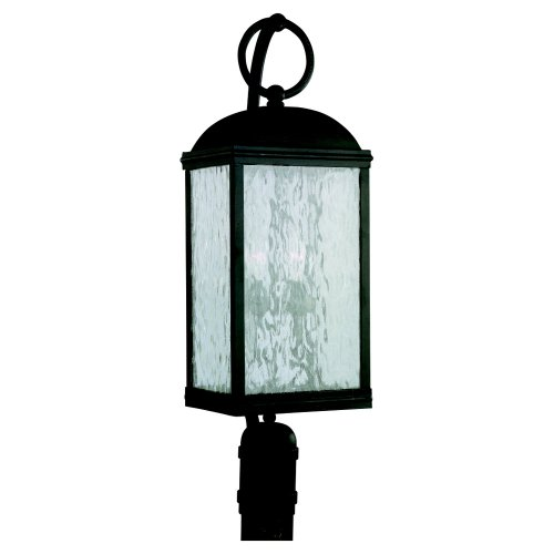 Sea Gull Lighting 82190-802 Outdoor Post Mount with Seeded Water Glass Shades, Obsidian Mist Finish