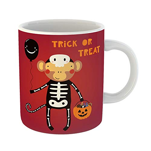 Emvency Coffee Tea Mug Gift 11 Ounces Funny Ceramic Cute Funny Monkey in Skeleton Costume Text Trick Treat Scandinavian Flat Gifts For Family Friends Coworkers Boss -