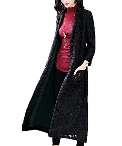 Color Negro Rojo Atmospheric Sólido Larga Dignified Ropa Jbhurf Solapa Encaje Windbreaker Otoño color Femenino S Mujer De Abrigo Tamaño wqz1a5