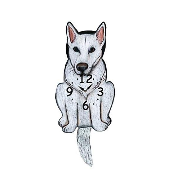 White German Shepherd Dog Wagging Tail Pendulum Clock 2