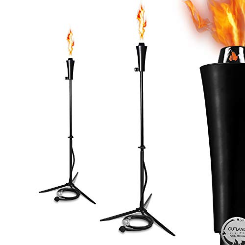 Outdoor Gas Propane Torch - 71-Inch 7,000 BTU Portable Ambient Yard Lights for Backyard Deck Lighting (2-Pack/20 LB Propane - Living Outdoor Gas Lights