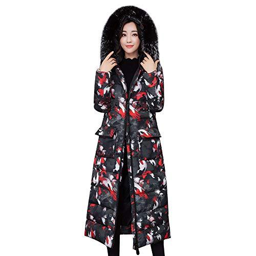 JINZFJG Manteau Hiver Femme Doudoune  Capuche Fourrure Fausse Chaud Coat Blouson Parka Veston Rouge Camouflage